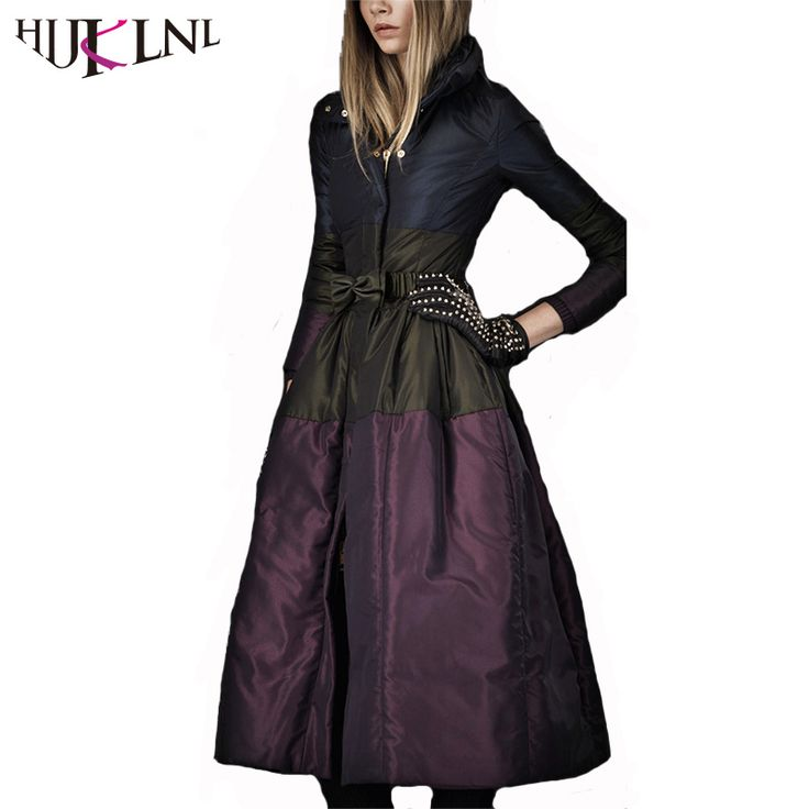 HIJKLNL European Style Vintage Luxury Winter Down Jacket Women X-Long Bow Turtleneck Feather Duck Down Jacket Winter Coat QN480 * View the item in details on www.aliexpress.com by clicking the VISIT button