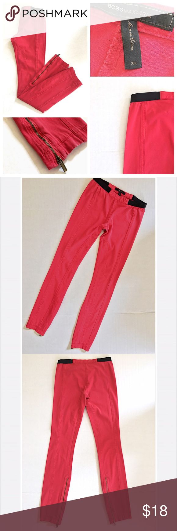 BCBGMaxAzria Red Skinny Pant + Legging w/Zipper BCBGMaxAzria Red Skinny Pant + Legging w/Zipper//Size XS//In Good Condition + Only Worn a Few Times👍🏻//Let me know if you need add'l info or pics! BCBGMaxAzria Pants Leggings
