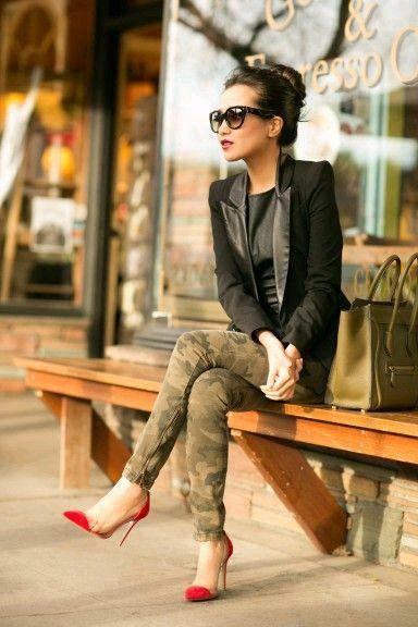 moda feminina - ideias-  moda militar - camuflada - estilo militar - elegante e descolado - ideias women's fashion - Military fashion - camouflage - military style - elegant and cool