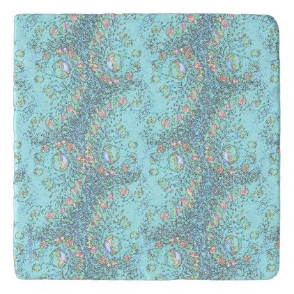 Bubbles And Zigzags Auqa Graphic Modern Trivet - pattern sample design template diy cyo customize