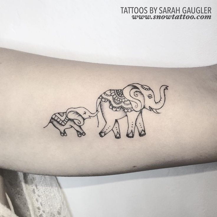 """Custom Elephants Mama & Baby - Designed and Tattooed by Sarah Gaugler at Private Studio www.snowtattoo.com Chelsea New York (by appointments) …"""