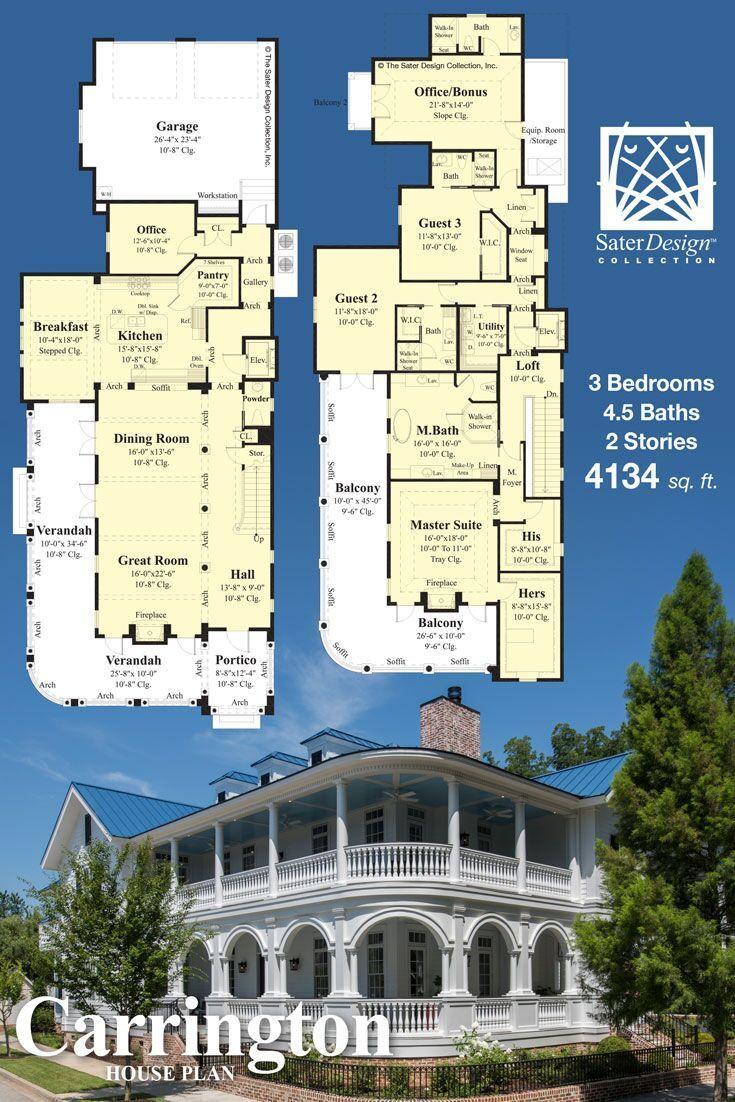 The Carrington Charleston Style Luxury Home Plan House Plans Luxury House Plans Sater