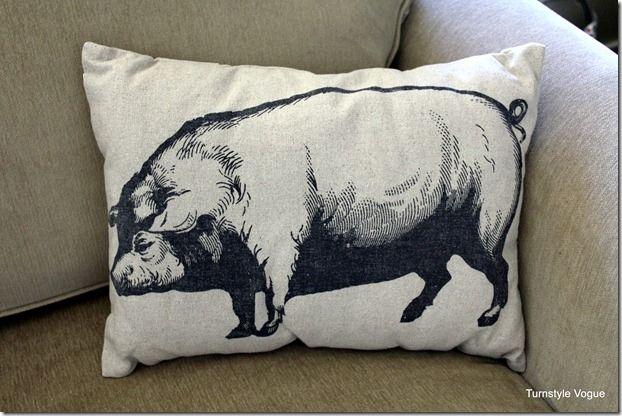 Antique Farmhouse Pig Pillow
