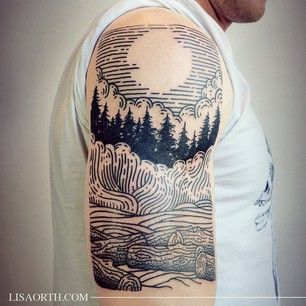 You can opt for an engraved look. | 33 Stunning Landscape Tattoos That Will Remind You Of Home #LandscapeTattoo