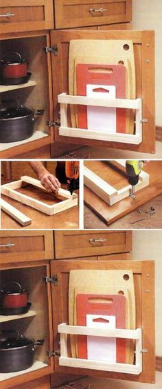 DIY cutting board holder for door
