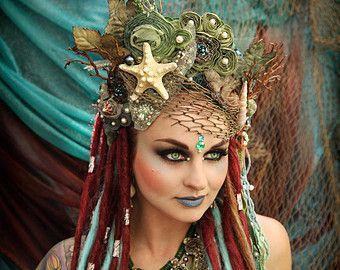 Made to Order!!!  Magical Whimsycal Fantasy Fairy Mermaid Queen Princess Sea Nymph  headdress headpiece crown costume tiara