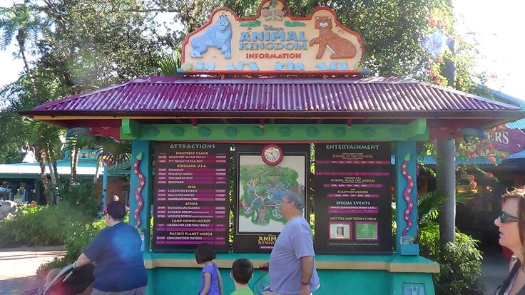 The information board on Discovery Island is a great place to check show times, get directions, or check Character Meet and Greet schedules while at Disney's Animal Kingdom.