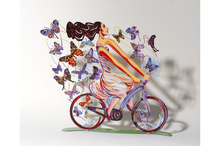 Rider in Euphoria // 2010   #davidgerstein #galerieduret #artcontemporain #contemporaryart #sculpture #design #home #kitchen #coloré #colorful #colors #bike #bicycle #sport #sportif #vélo  #decoration #tendance #woman #femme #papillons #butterflies