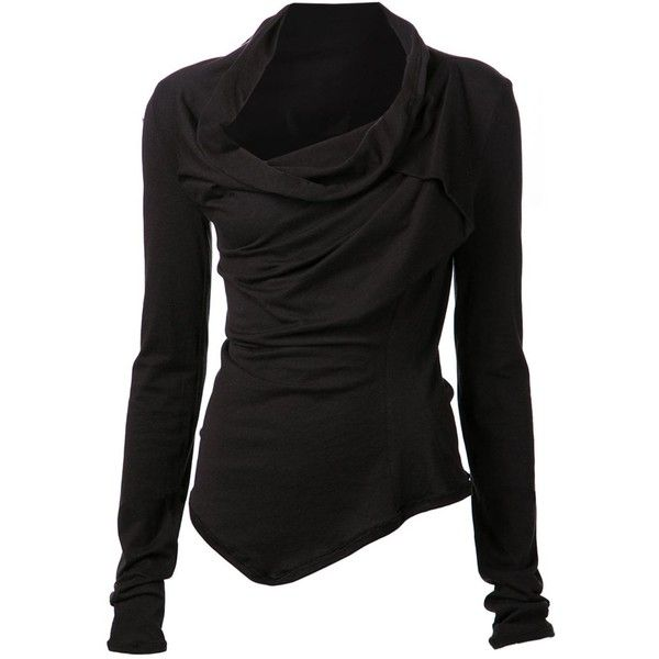 Marc Le Bihan asymmetrical long sleeve top (870 AUD) found on Polyvore featuring tops, shirts, sweaters, jackets, long sleeves, black, asymmetrical hem top, black cowl neck top, black top and cowl neck tops