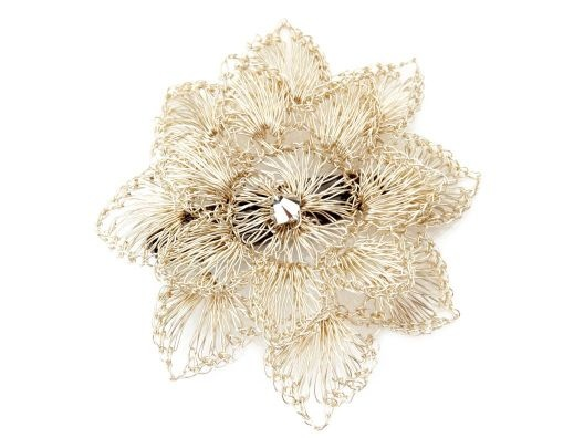 Silver Crochet hair clip by Colette Malouf