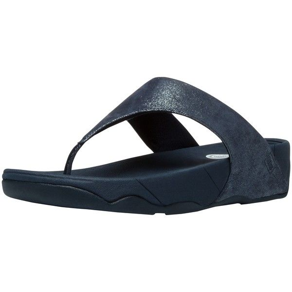 FitFlop Lulu Shimmer Suede Flip Flops , Super Navy (£50) ❤ liked on Polyvore featuring shoes, sandals, flip flops, super navy, flat wedge sandals, wedges shoes, navy blue flat sandals, navy wedge sandals and wedge flip flops