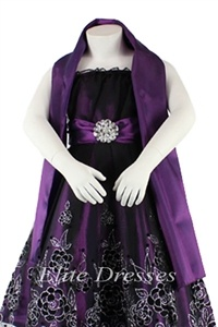 Girls Purple Dress with Black Tulle Overlay and Matching Shawl -