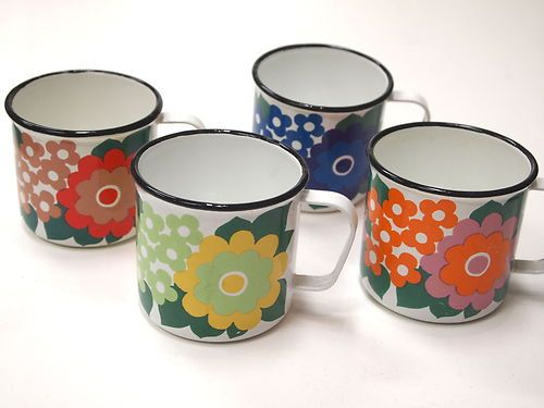 ARABIA FINEL FINLAND ENAMEL 4 mugs 1960s - SUPER RARE SET! | eBay  How wonderful to find these - they are like hen's teeth - love them.