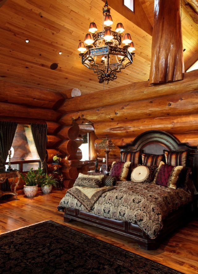 Log Home Masterbedroom Design Pictures Remodel Decor And Ideas