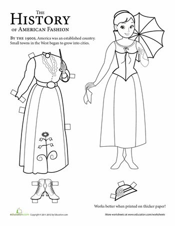Worksheets: Victorian Paper Doll