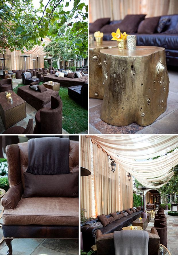 i like the flowers! and the candle?: Ideas For, Gold Logs, Paintings Trunks, Lounges Style, Logs Tables, Lounges Seats, Trees Trunks Tables, Events Lounges Decor, Gold Trees