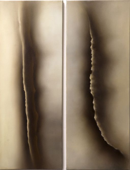 Katerina Papazissi - 'Double Bind', 2014. Oil on canvas. Diptych 60x70cm #katerinapapazissi, #oil, #oilpainting, #contemporarypainting, #greekart, #between, #opening, #body, #bodyart, #city, #wall
