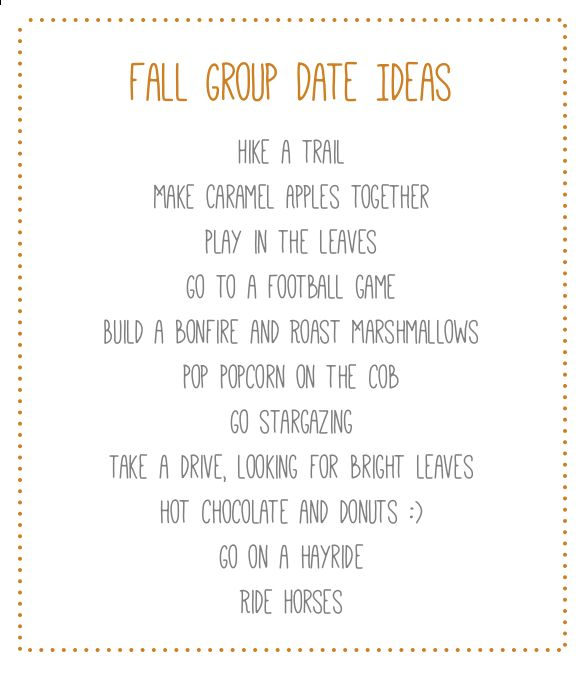 Stand & Shine Magazine: Favorite Things Friday: Fall Group Date Ideas