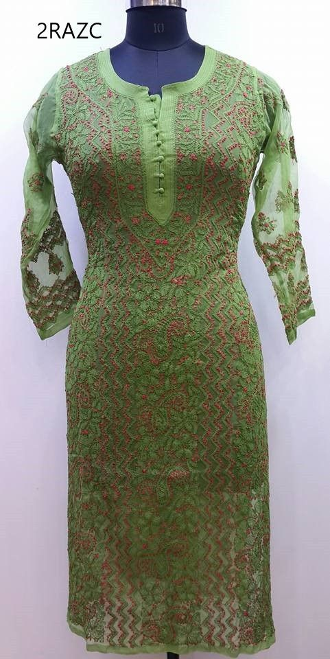 0bb7563a74 Lucknow Chikan Exclusif Sarabsons Shop No 101, Naveen Market, Kanpur.  Lucknowi Chikankari Hand Embroidered Kurti Green Faux Ge…