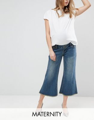 3556da0823483 Bandia Maternity Over The Bump Raw Hem Wide Leg Jean With Removable Bump  Band | Maternity Pants Jeans | Wide leg jeans, Maternity skinny jeans, ...
