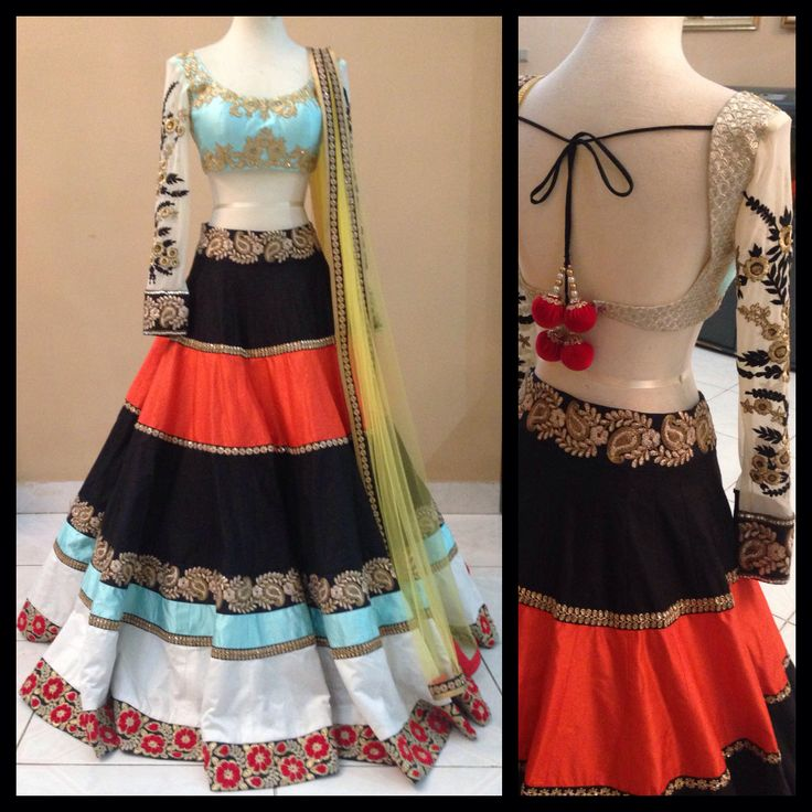 Color block lehenga by MischB Couture