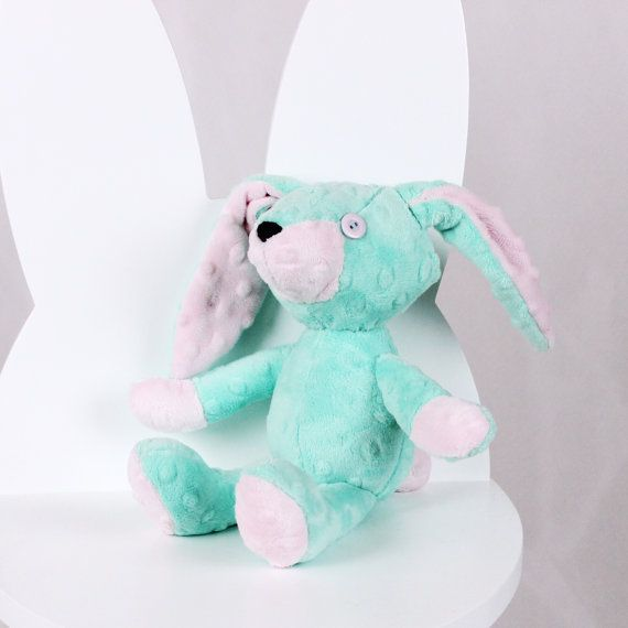 Plush Bunny Emi Mint Rose  Nuva Handmade Stuffed Animal by NuvaArt