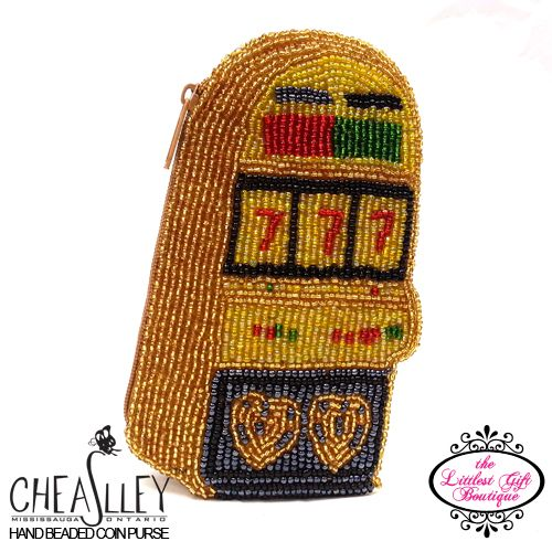 Hand-Beaded Coin Purse Lottery Slot Machine Gold $15