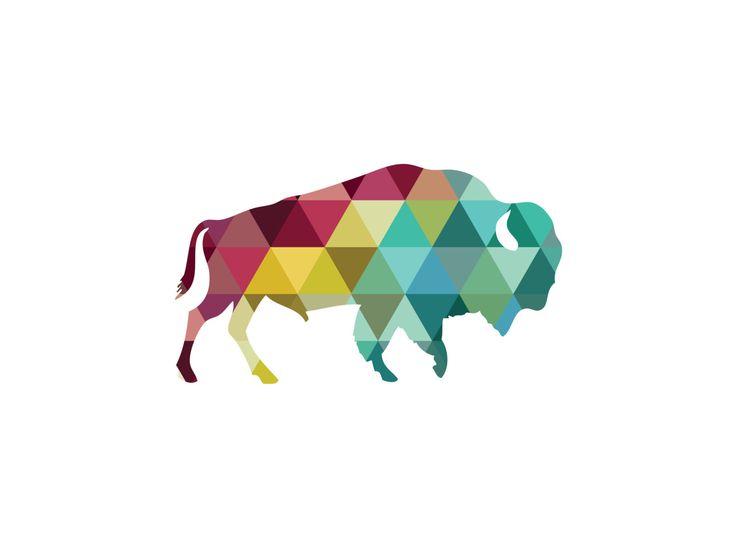 Buffalo Print Buffalo Art Geometric Buffalo by MelindaWoodDesigns