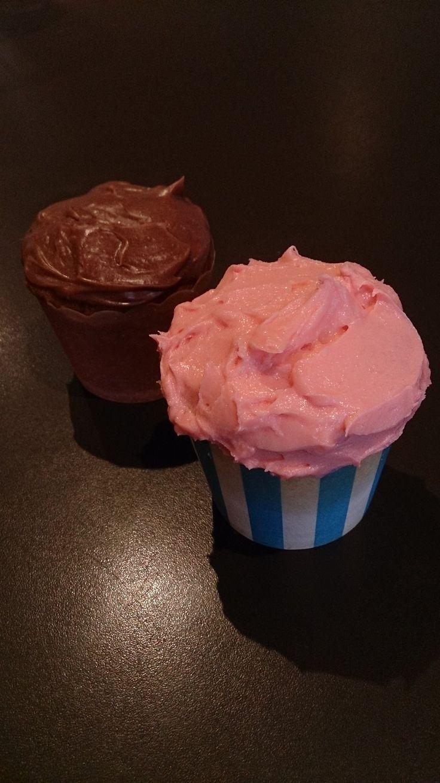 Norwegian Gold Cake w/ Chocolate Sour Cream Ganache and White Chocolate Mudcake with Strawberry-Vanilla Frosting