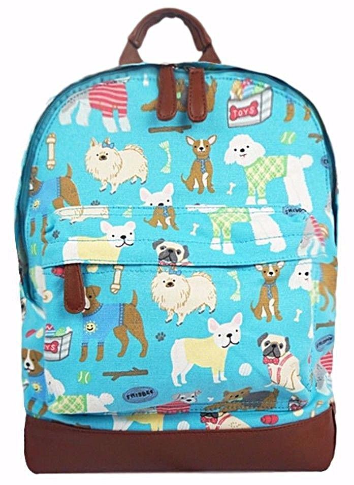 A turquoise blue canvas backpack rucksack with a Dog print thick canvas fabric and brown faux leather trim The bag fastens with a zip external zip