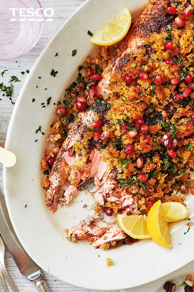 Impress at your Easter Sunday roast with this salmon recipe, rubbed with spices and topped with a sourdough crust. | Tesco
