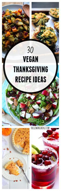 30 Vegan Thanksgiving Recipe Ideas to make your life easier! Including drinks, side dishes, festive salads, main dishes and of course, desserts! #vegan #thanksgiving #menu #recipes