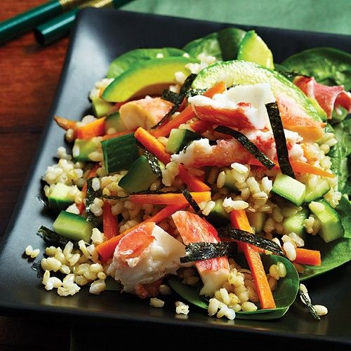 Deconstructed Sushi salad with a peppy wasabi vinaigrette! Clean Eating.  INGREDIENTS: 1 cup short-grain brown rice  1 tbsp wasabi paste  2 ...