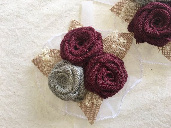 Burlap Corsage Rustic Corsage Corsages Wrist by NaturesDoorway