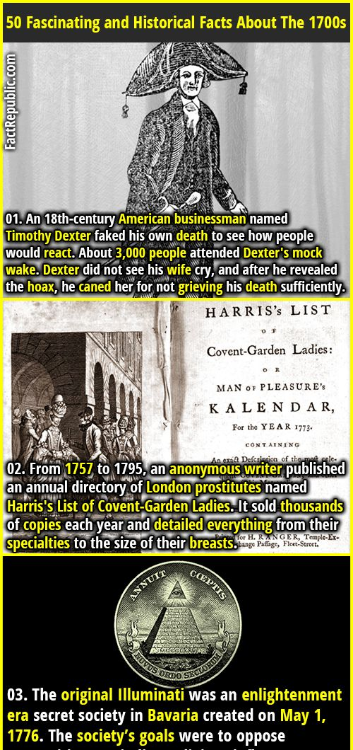 50 Fascinating And Historical Facts About The 1700s Funny Facts Weird Facts Fun Facts