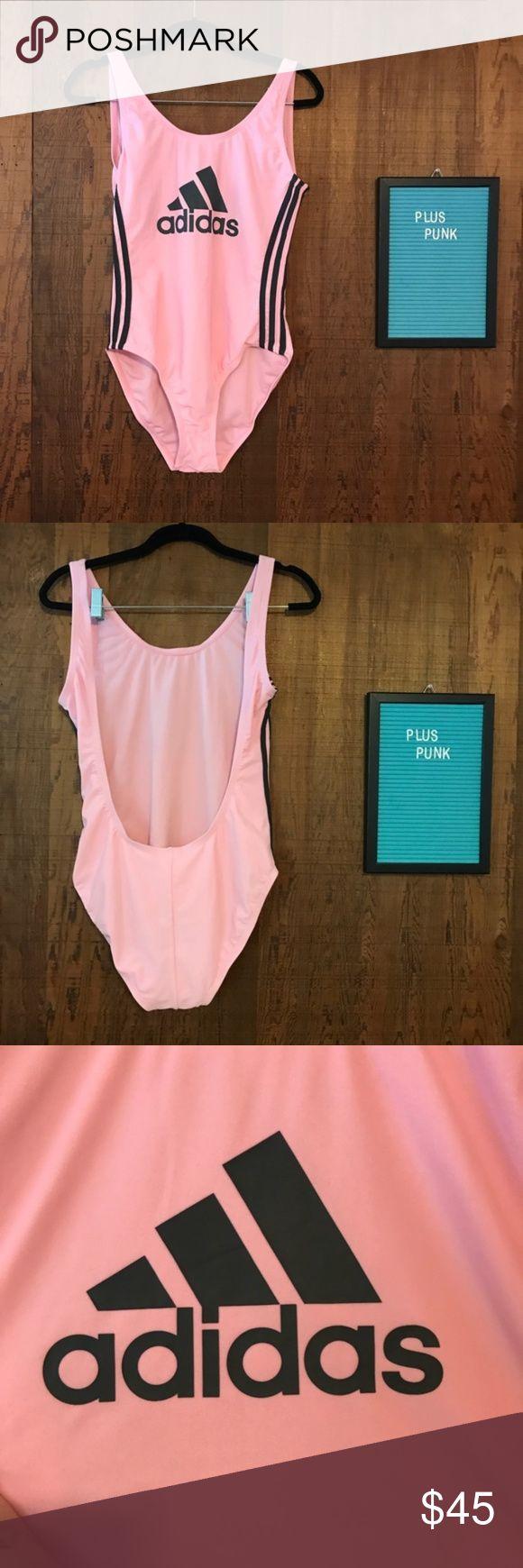 Adidas One Piece Swimsuit Pink & Gray Medium NWT This U-back one-piece swimsuit …