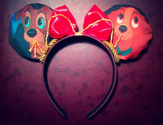 Lady and the Tramp Mickey ears  by SammiMade on Etsy, $29.00