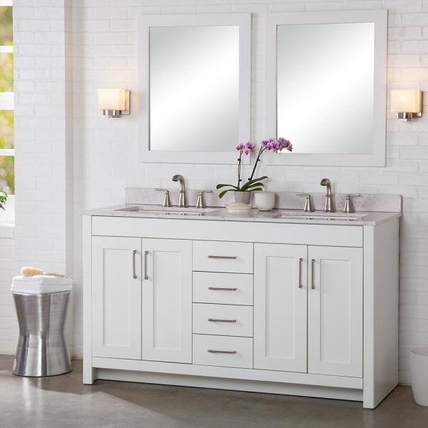 Home Decorators Collection Westcourt 61 In W X 22 In D Bath Vanity In White With St In 2020 Bathroom Vanities Without Tops Double Sink Bathroom Vanity 60 Inch Vanity