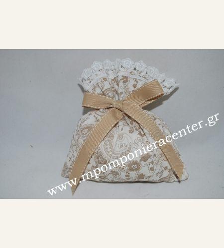 Μπομπονιέρα πουγκί υφασμάτινη μπέζ άμμου