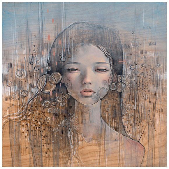 "It's So Empty Here  oil and graphite on wood panel 12""x12""  Outre Gallery. Australia.  2010"