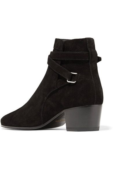 Heel measures approximately 40mm/ 1.5 inches Black suede Buckle-fastening ankle strap Made in Italy