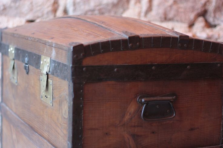 """30"""" Antique French Barrel Topped Wooden Chest   vinterior.co"""