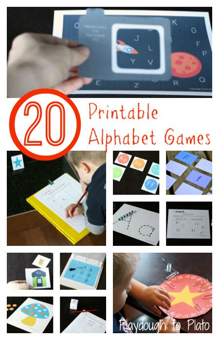 20 fun, creative printables teaching kids letter names, ABC sequencing and letter formation. {Playdough to Plato}