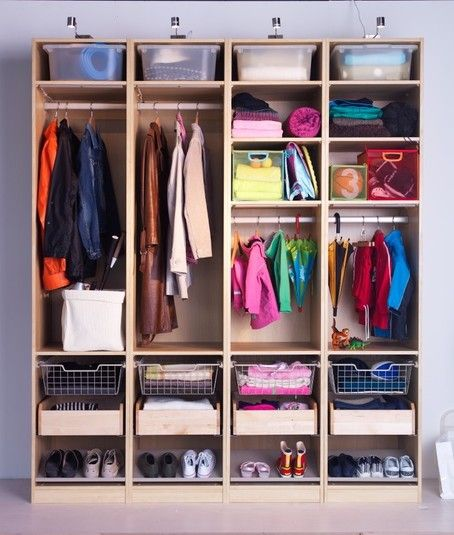 ikea PAX for a mudroom- awesome organization unit!