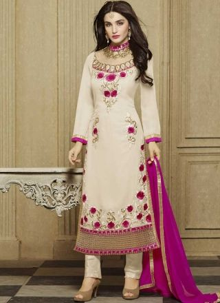 Beige Magenta Embroidery Work Georgette Santoon Designer Pakistani Suit http://www.angelnx.com/Salwar-Kameez/Pakistani-Suits