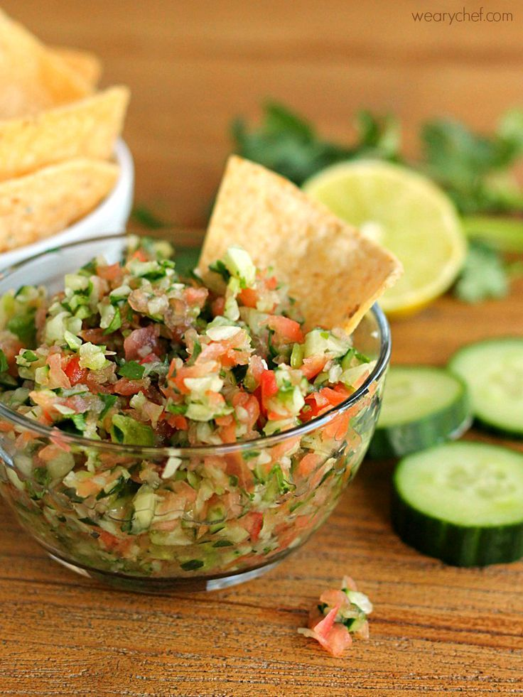 This fresh-tasting Cucumber Salsa is quick and easy to make, and it goes perfectly with chips and fish tacos!