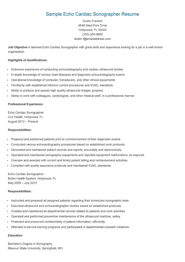 235 best resame images on Pinterest Website, Sample resume and - ultrasound technician resume sample