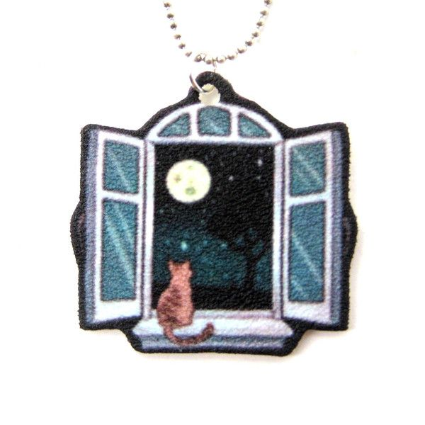 547 best shrink plastic images on pinterest shrink plastic kitty cat sitting by a window animal pendant necklace handmade shrink plastic mozeypictures Gallery