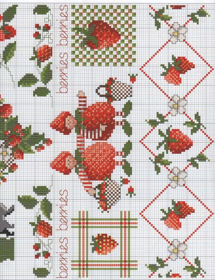Morangos-para-toalha-de-mesa-gráficos Morangos na cozinha em ponto cruz