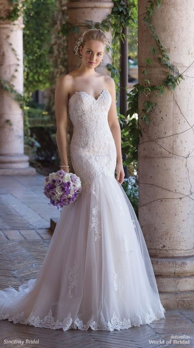 Sincerity Bridal Spring 2018 Corded Lace and Tulle Mermaid Gown with Sweetheart Neckline - This sweetheart gown is lined with Charmeuse for extra comfort. Corded lace covers the bodice and floats down the tulle full skirt. Designed for impeccable shape, this fit and flare will leave your guests wowed.